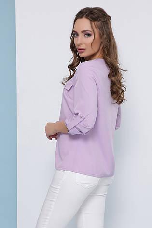 Блузка женская сиреневая летняя с рукавом. Ткань - супер софт. Повседневная, офисная легкая блуза, фото 2