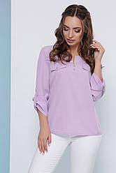 Блузка женская сиреневая летняя с рукавом. Ткань - супер софт. Повседневная, офисная легкая блуза