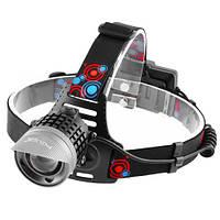 Фонарь налобный с аккумулятором Police 2170-T6, ЗУ micro USB, 2x18650, signal light, zoom, Box, фото 1