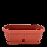 """Вазон """"Терра"""" кактусовка, з піддоном, ширина 31,5 см, фото 1"""