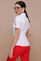 Хлопковая белая женская блузка с коротким рукавом, размер S, M, L, XL, фото 2