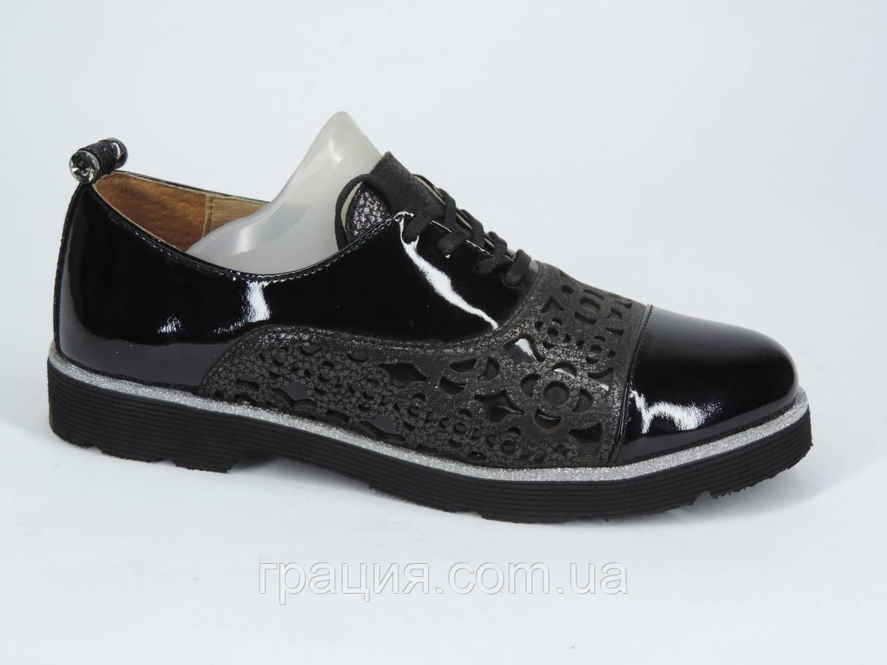 Женские стильные туфли кожаные натуральные на шнуровке