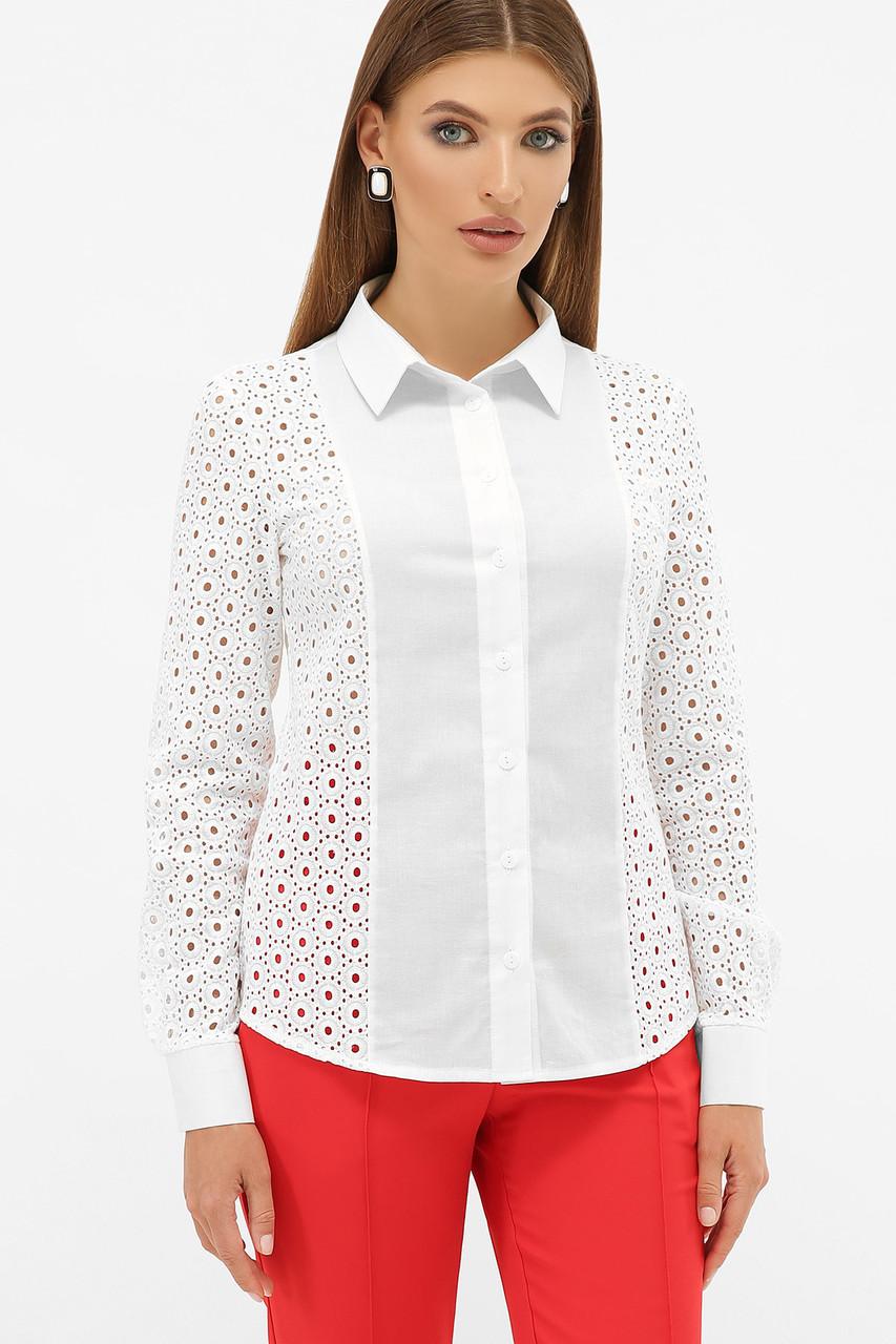 Нарядная белая женская блузка из хлопка с узором прошва, размер S, M, L, XL