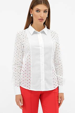 Нарядная белая женская блузка из хлопка с узором прошва, размер S, M, L, XL, фото 2