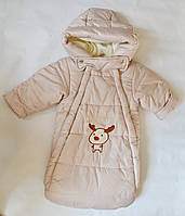Детский зимний конверт для новорожденных с рукавами, на овчине, унисекс, фото 1