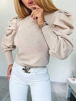 Женская вязаная кофта с рукавами фонариками 4dmde861