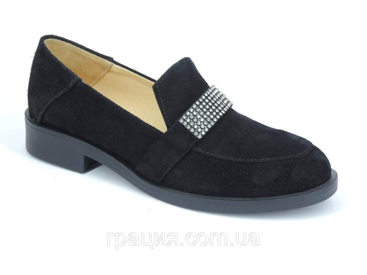 Стильні жіночі замшеві туфлі лофери