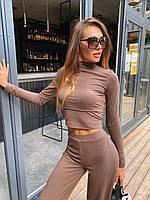 Женский брючный костюм из трикотажа лапши с укроченным гольфом и брюками клеш 36mko1100, фото 1