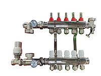 Коллектор ORSO 6 контуров из нержавеющей стали для тёплого пола и лучистого отопления, фото 1