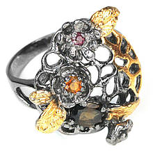 Серебряное кольцо с турмалином разноцветным, 1512КТ