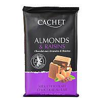 Молочний Шоколад Cachet Almonds & Raisins з мигдалем і родзинками, 300 г