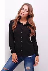 Блузка женская черная летняя с длинным рукавом Ткань - супер софт. Повседневная, офисная легкая блуза
