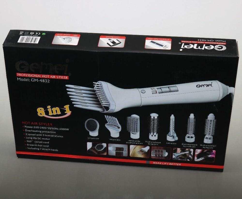 Фен Стайлер для укладки волос 8 в 1 Gemei GM 4832 для всех типов волос Воздушный стайлер для волос