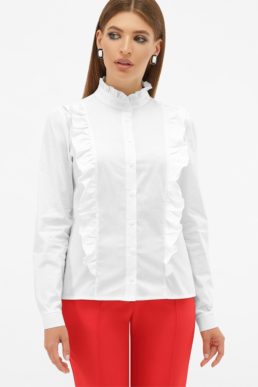 Романтическая белая блузка с рюшами, размер S, M, L, XL