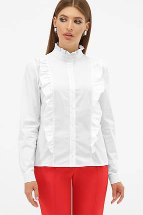 Романтическая белая блузка с рюшами, размер S, M, L, XL, фото 2