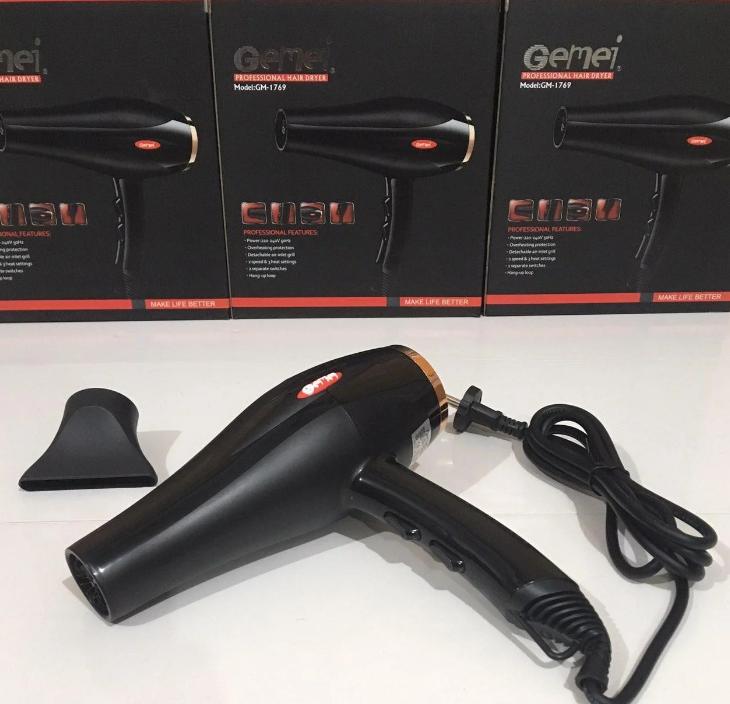 Профессиональный фен Gemei GM 1769, мощность 1800W, 2 скорости, 3 режима нагрева, фен бытовой