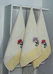 Набор полотенец кухонных Цветок/желт. клетка (6 шт)