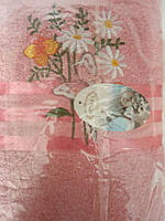 Банное полотенце Цветок с бабочкой 70 х 140 см Турция