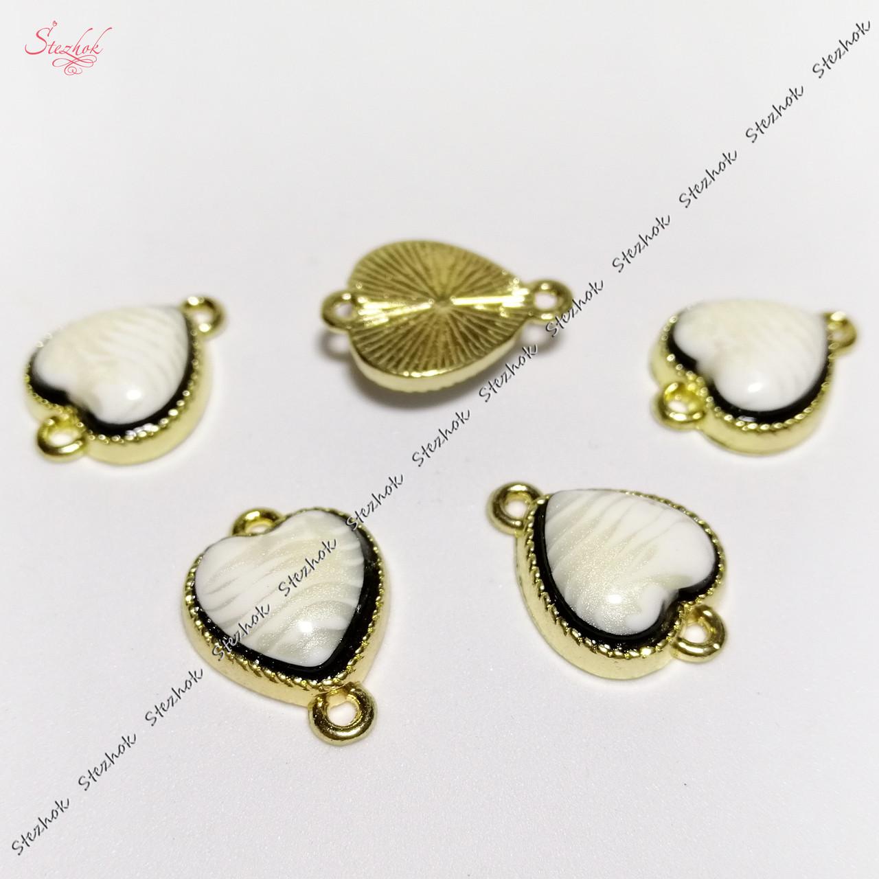 Коннектор сердце с кабошоном 17х13 мм золото для рукоделия