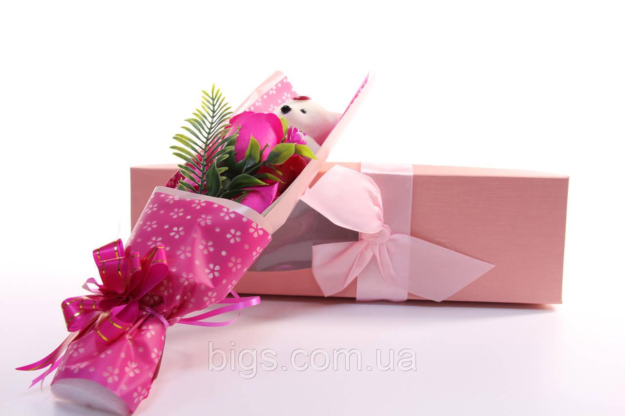 Подарочный набор мыло роза с мишкой 33*10*6 см розовый