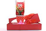 Подарочный набор мыло роза с мишкой 33*10*6 см розовый, фото 10
