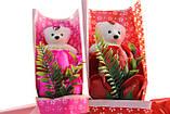 Подарочный набор мыло роза с мишкой 33*10*6 см розовый, фото 7