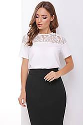 Блузка женская белая летняя с коротким рукавом Ткань - супер софт + гипюр. Повседневная, офисная легкая блуза