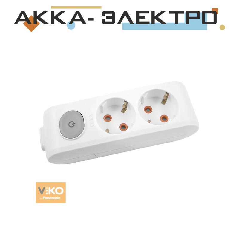 Колодка удлинителя с заземлением с кнопкой на 2 гнезда Viko 90118200
