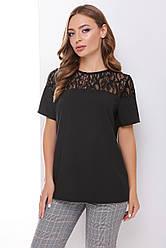 Блузка женская черная летняя с коротким рукавом Ткань - супер софт + гипюр. Повседневная, офисная легкая блуза