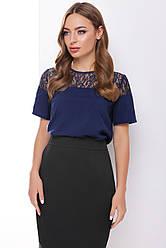Блузка женская черная темно-синяя с коротким рукавом Ткань - супер софт + гипюр. Повседневная, офисная