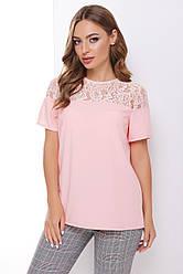 Блузка женская пудровая с коротким рукавом Ткань - супер софт + гипюр. Повседневная, офисная легкая блуза
