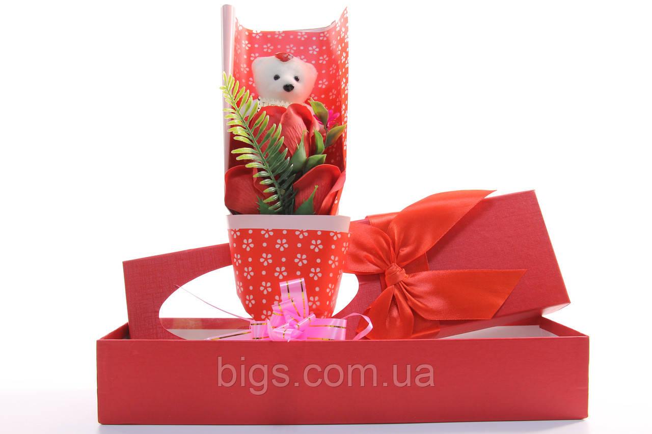 Подарочный набор мыло роза с мишкой 33*10*6 см красный