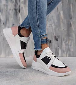 Красивые кожаные женские кроссовки на белой подошве белые розово-белые размеры 36-40