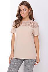 Блузка женская бежевая с коротким рукавом Ткань - супер софт + гипюр. Повседневная, офисная легкая блуза