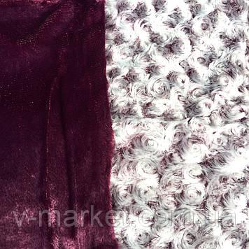 """Плед """"каракуль"""" бордовий євро розмір двосторонній однотонний, 220/240, тканина мікрофібра"""