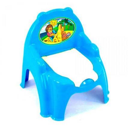 Горшок детский с крышкой голубой 4074