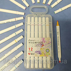 Набір двосторонніх фломастери 12 кольорів для малювання AH-PM513-12 (круглий + скошений) у пластиковому пеналі