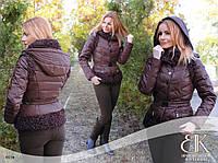 Шоколадно-баклажанная зимняя куртка трансформер