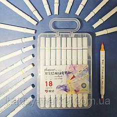 Набір двосторонніх фломастери 18 кольорів для малювання AH-PM513-18 (круглий + скошений.) у пластиковому пеналі