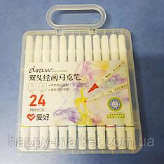 Набір двосторонніх 24 кольори фломастерів для малювання AH-PM513-24 (круглий + скошений.) в пластиковий пенал