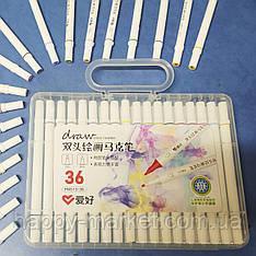Набір двосторонніх фломастерів 36 кольору для малювання AH-PM513-36 (круглий + скошений.) у пластиковому пеналі