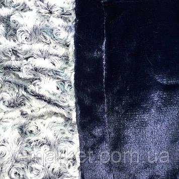 """Плед """"каракуль"""" синій євро розмір двосторонній однотонний, 220/240, тканина мікрофібра"""