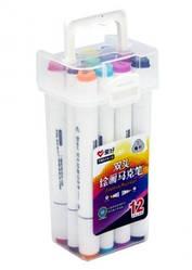 Набір двосторонніх фломастери 12 кольорів для малювання AH-PM514-12 (круглий + скошений.) трикутні
