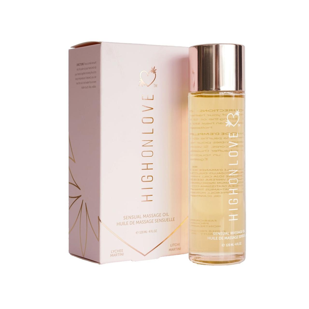 Массажное масло HighOnLove Massage Oil - Lychee Martini (120 мл) с маслом семян конопли