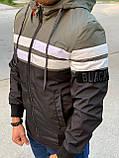 Мужская куртка ветровка Zago Black M453 хаки-черная, фото 4