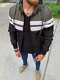 Мужская куртка ветровка Zago Black M453 хаки-черная, фото 3