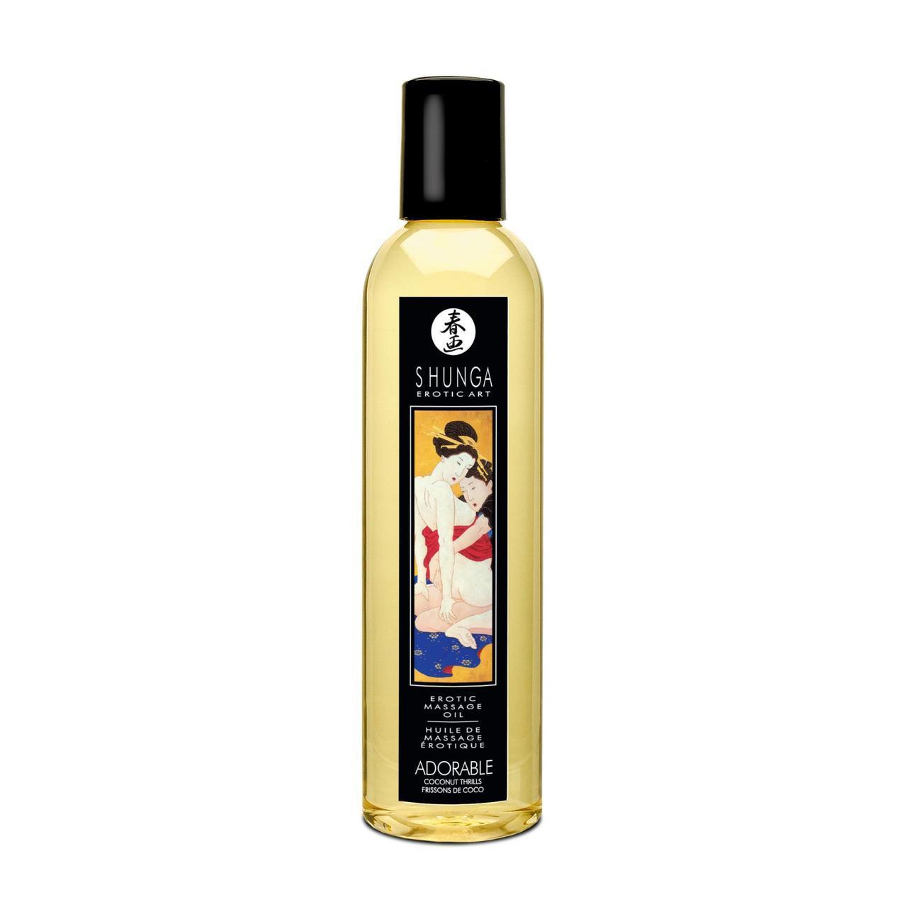 Массажное масло Shunga Adorable - Coconut thrills (250 мл) натуральное увлажняющее