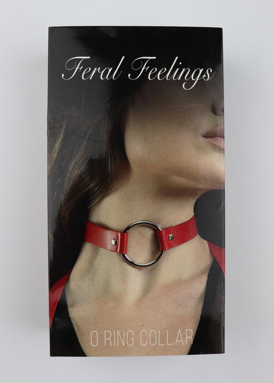 Чокер с кольцом Feral Feelings - O-Ring Collar красный, натуральная кожа