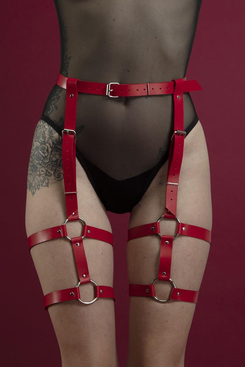 Гартеры Feral Feelings - Garter, натуральная кожа, цвет красный