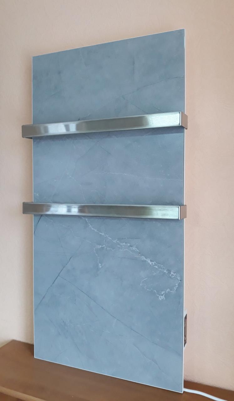 Керамический полотенцесушитель Flyme 600T (2R) с двумя ручками, серый мрамор